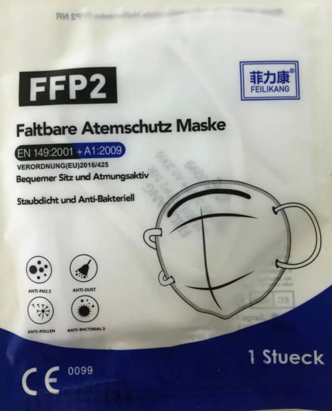 FFP2 Schutzmaske 1 Stück, EN149:2001 + A1:2009, CE0099