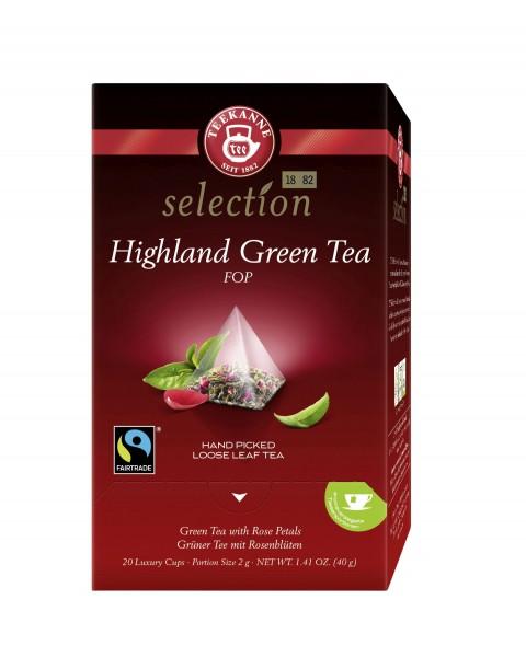 Teekanne Luxury Cup Highland Green Tea FOP 20 Pyramidenbeutel