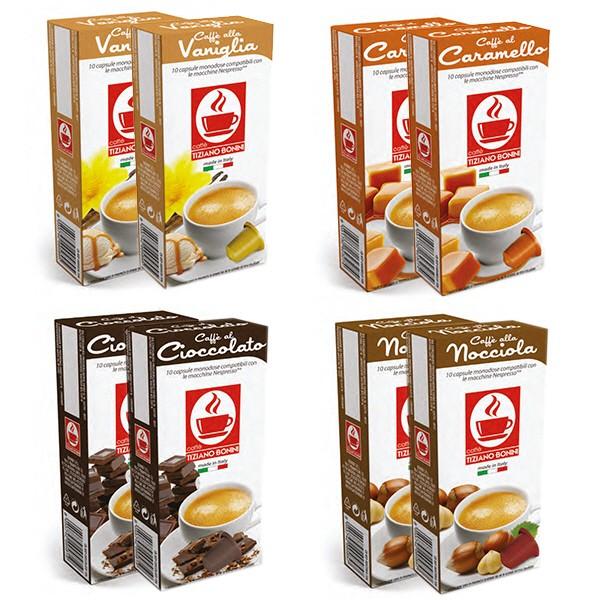 Caffè Bonini Probierset - 4 Sorten Kaffee Flavoured / aromatisiert - 4 x 20 Kapseln Nespresso ®* kom