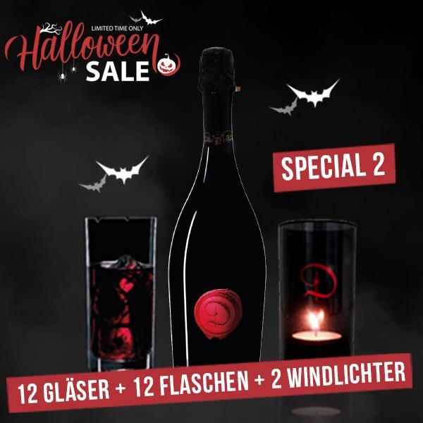 """HALLOWEEN SPECIAL """"2"""": 12 Flaschen """"Castle of Dracula"""" - SPUMANTE """"RED"""" + 12 Gläser + 2 Windlichter"""