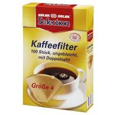 SELEX Selection Kaffeefilter, ungebleicht mit Doppelnaht, Größe 4, 100 Stück