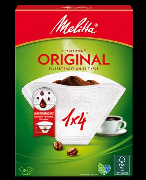 Melitta ® Filtertüten Original 1 x 4, weiß, 80 Stück