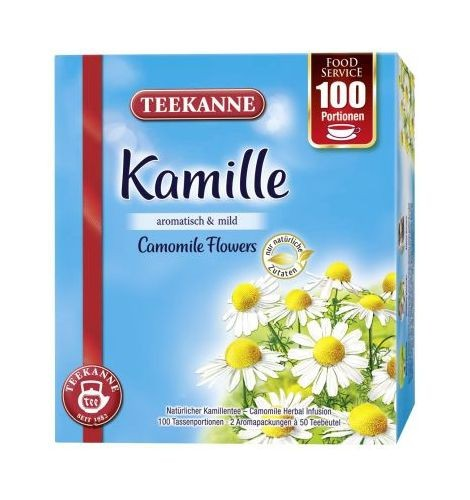 Teekanne Kamille 100 Beutel - Tassenportion