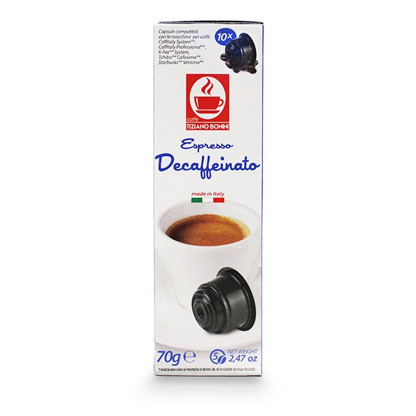Caffè Bonini DECAFFEINATO / Entkoffeiniert - 10 Kompatible Kapseln Caffitaly ®* K-Fee ®* Tchibo ®*