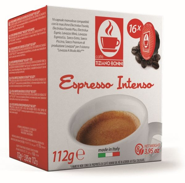 Caffè Bonini INTENSO - 16 Kompatible Kapseln Lavazza A Modo Mio ®* - MHD: 25.01.2020