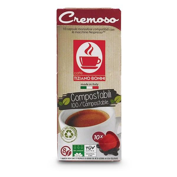 Caffè Bonini CREMOSO - 10 Kompatible Kapseln Nespresso ®* - 100 % kompostierbar
