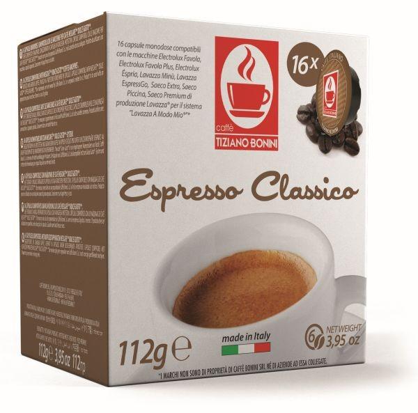 Caffè Bonini CLASSICO - 16 Kompatible Kapseln Lavazza A Modo Mio ®* - MHD: 25.01.2021