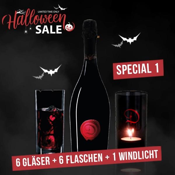 """HALLOWEEN SPECIAL: 6 Flaschen """"Castle of Dracula"""" - SPUMANTE """"RED"""" + 6 Gläser + 1 Windlicht"""