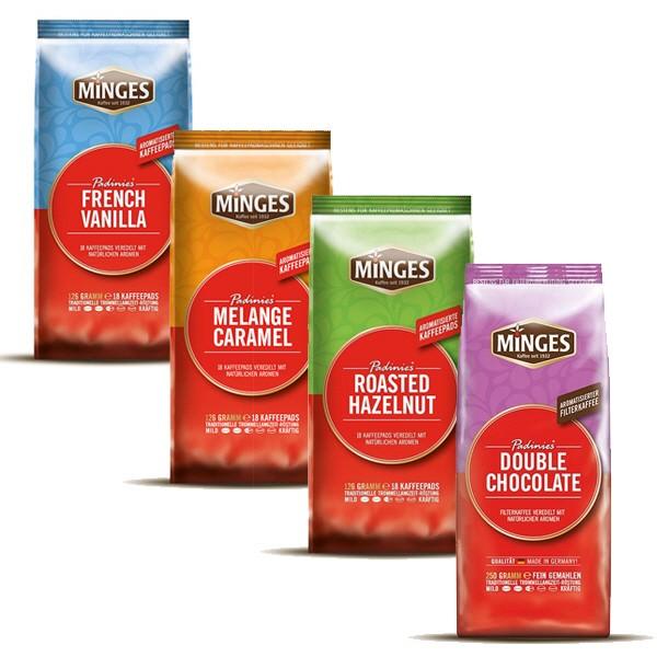 Kaffeepads Padinies Probierpaket 72 Pads Chocolate - Vanilla - Caramel - Hazelnut