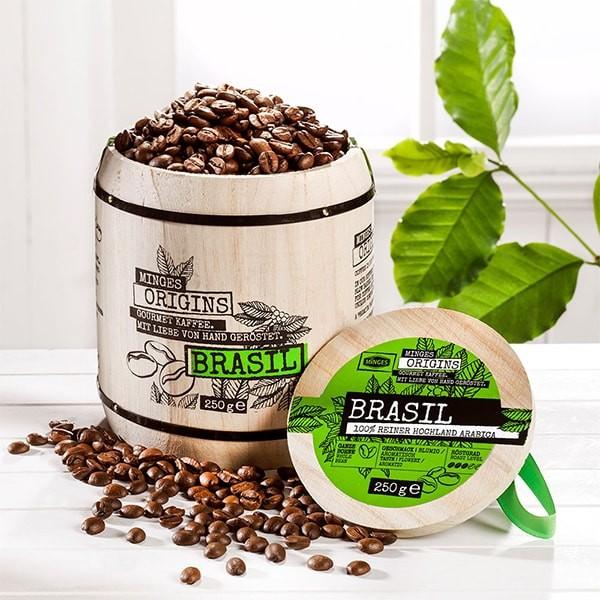 Kaffeebohnen Minges Brasil Hochland Arabica im Holzfass 250g