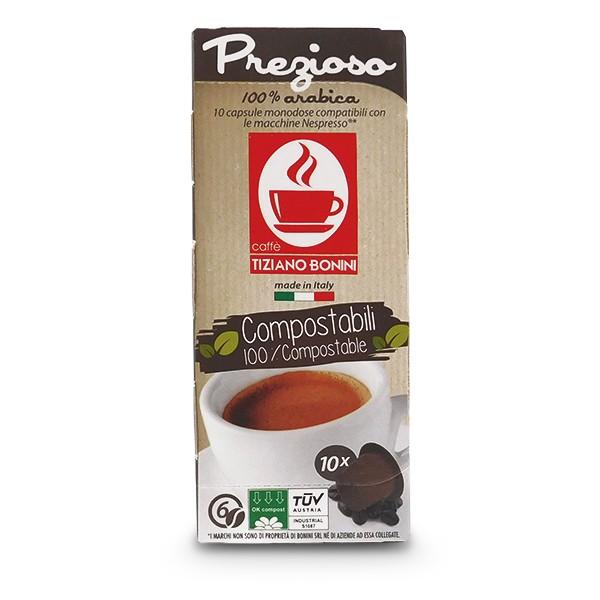 Caffè Bonini PREZIOSO - 10 Kompatible Kapseln Nespresso ®* - 100 % kompostierbar