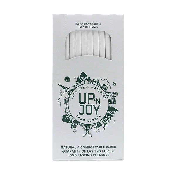 Up'n Joy PAPIERHALME weiß - 140 Stück - 8 mm x 195 mm