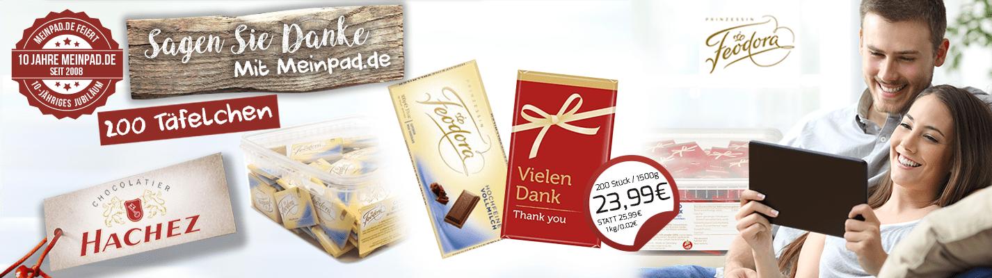 """Hachez """"Vielen Dank"""" Schokoladentäfelchen Feodora Choco Big Box"""