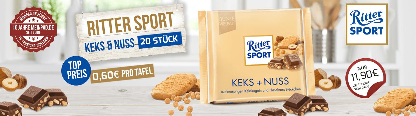 Ritter Sport Keks & Nuss - 20x 100 Gramm